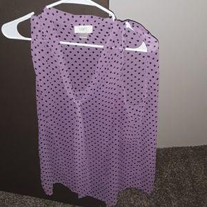 Purple with black polka dots loft shirt size lg